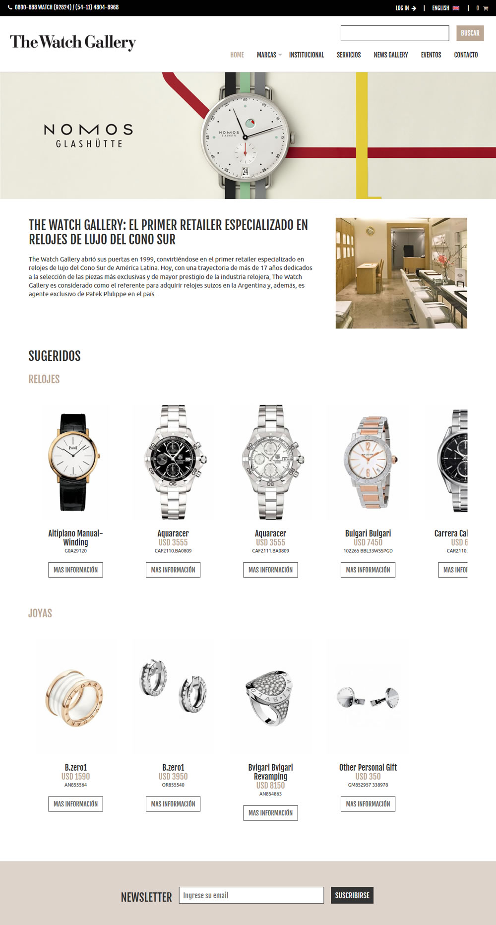 diseño website The Watch Gallery
